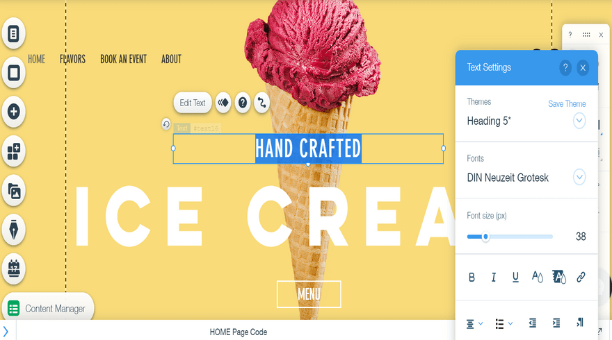 editing text on wix's free editor