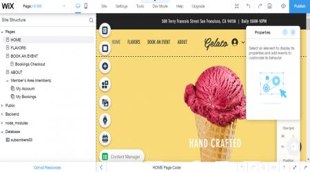 wix's free editing interface