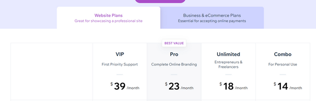 wix website pricing plans