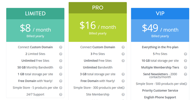 strikingly price plans