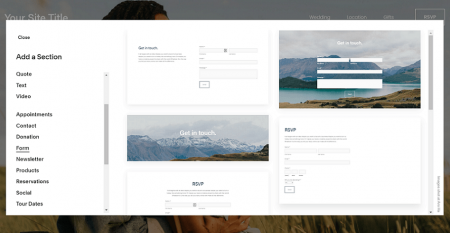 add a rsvp form in the squarespace editor
