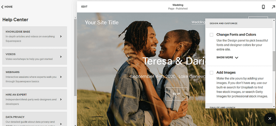 help in the squarespace editor