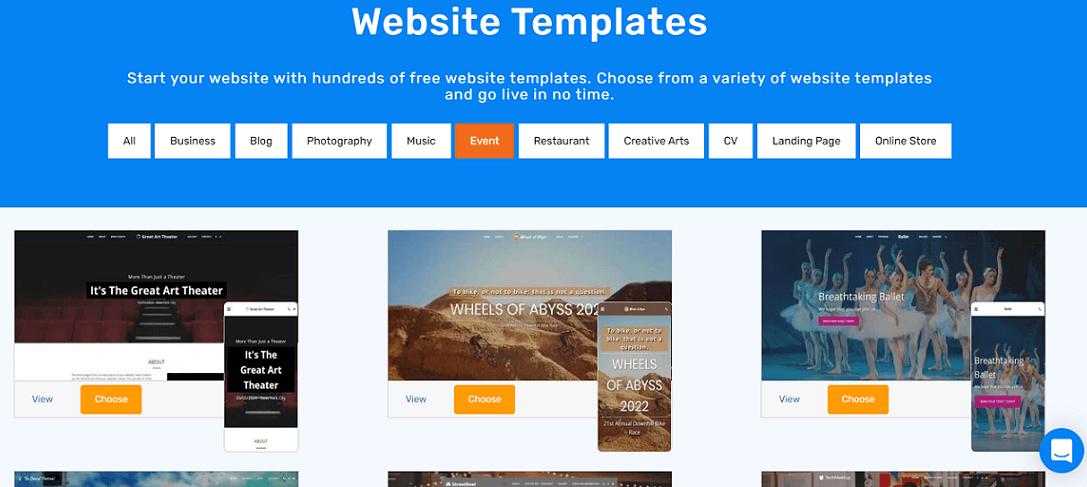 site123 event templates