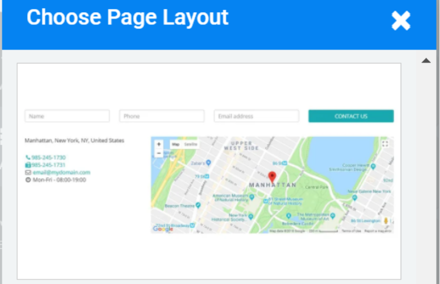 site123 preset page layout example