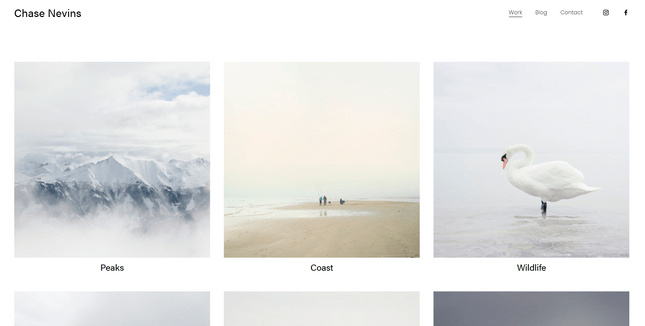 squarespace nevins photography template