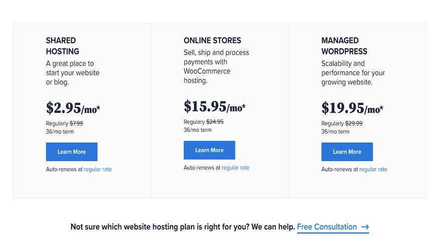 bluehost plan prices
