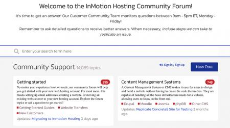 inmotion community help forum
