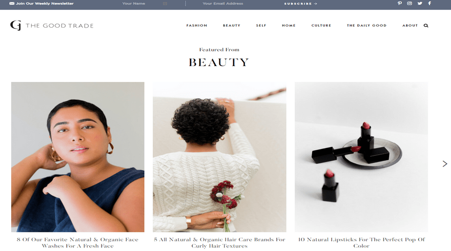 squarespace blog example the good trade