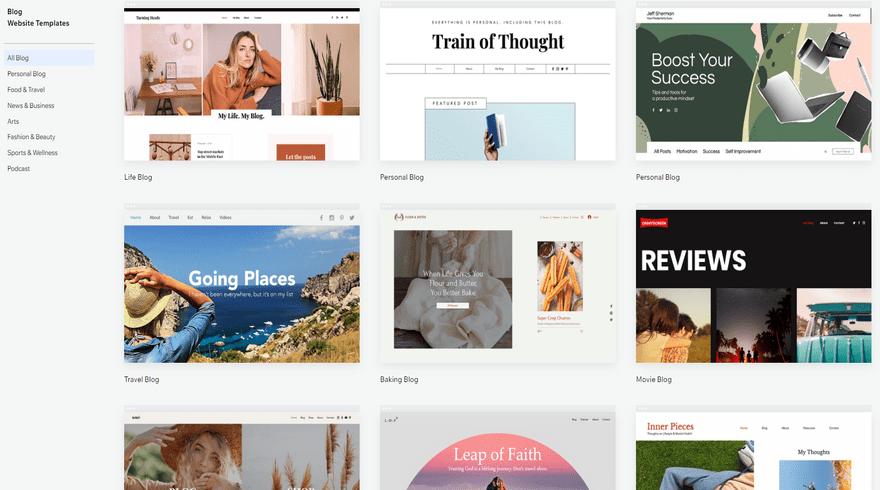 wix blogging templates