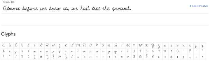 cedarville cursive font example