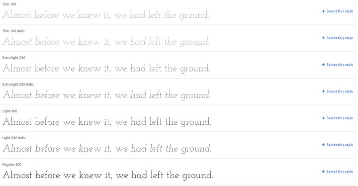 josefin slab best website fonts