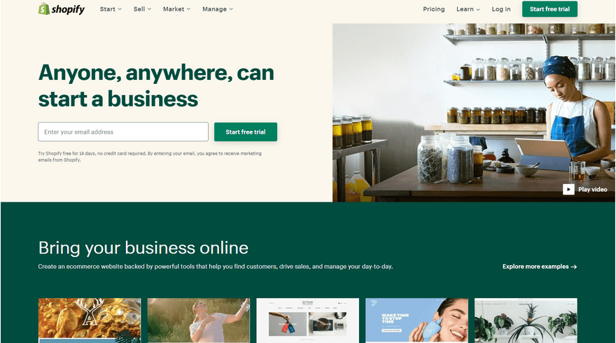 cheapest website builders shopify online store home