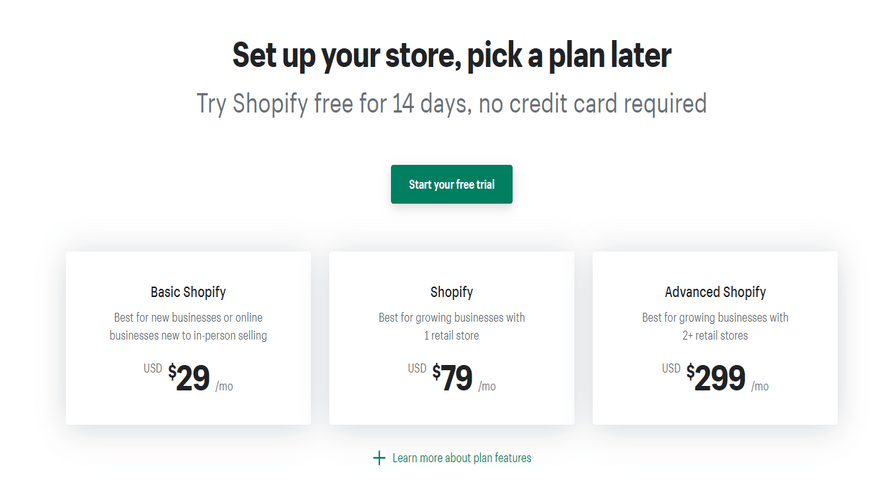 cheapest website builders shopify online store pricing