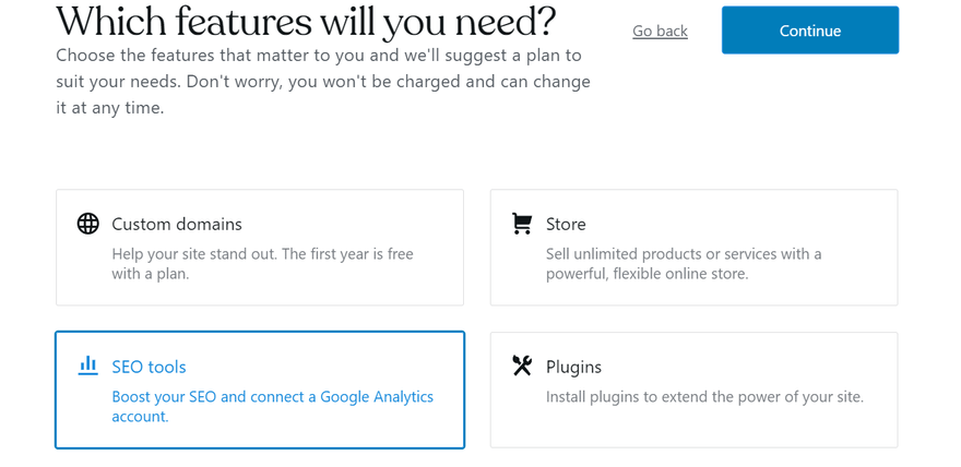 wordpress.com setup features selection