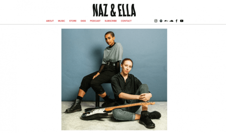 naz and ella wix musician website example