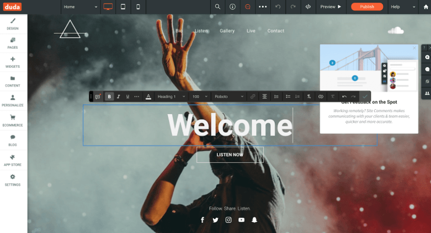 duda template editor