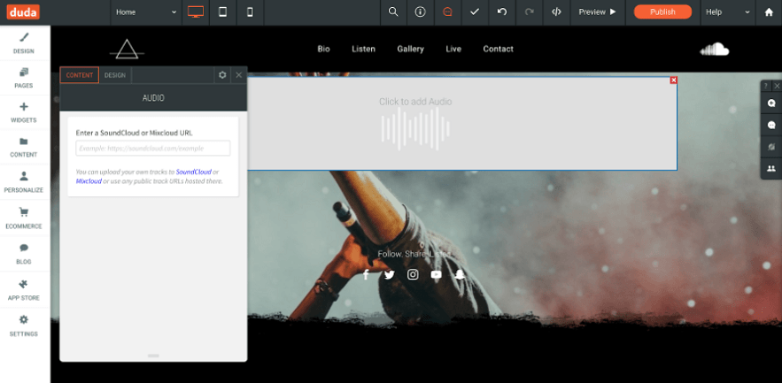 duda audio widgets