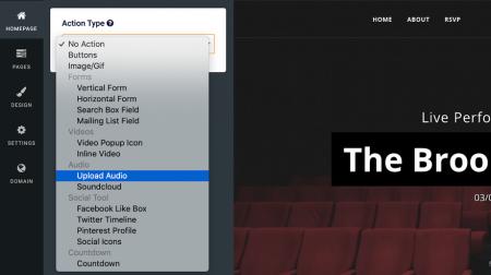 site123 content menu
