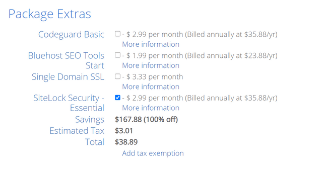 bluehost extra costs