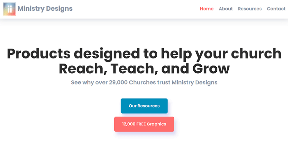 ministry designs homepage