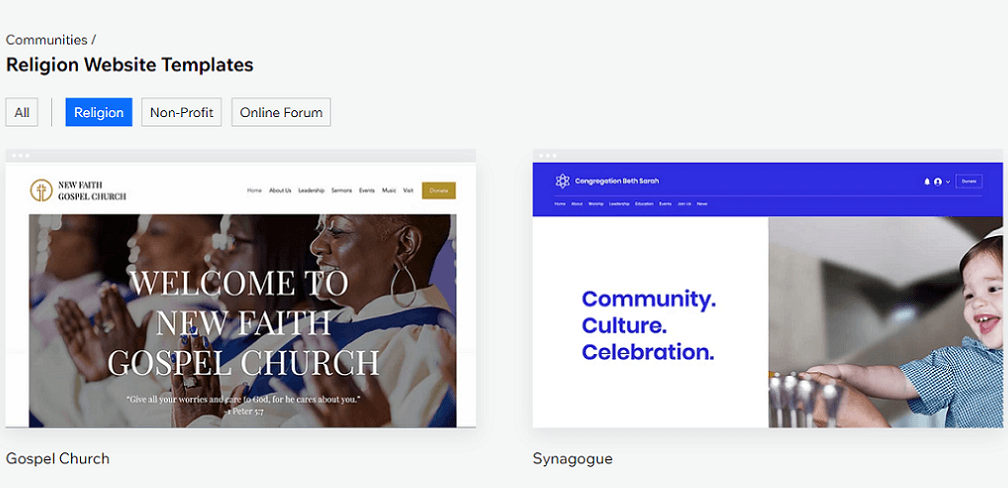 wix religion website templates