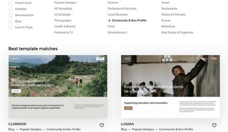 squarespace community nonprofit templates