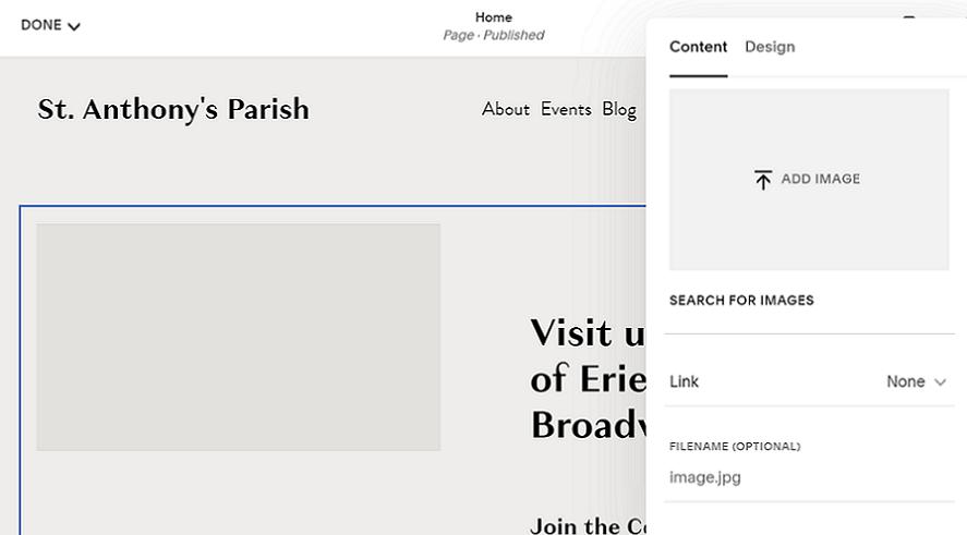squarespace editor adding images