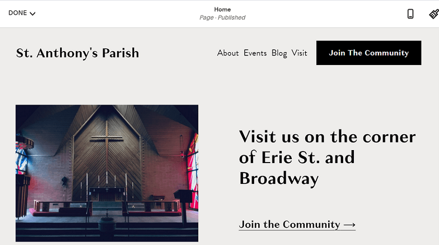squarespace church website example