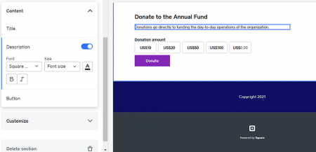weebly add donation element
