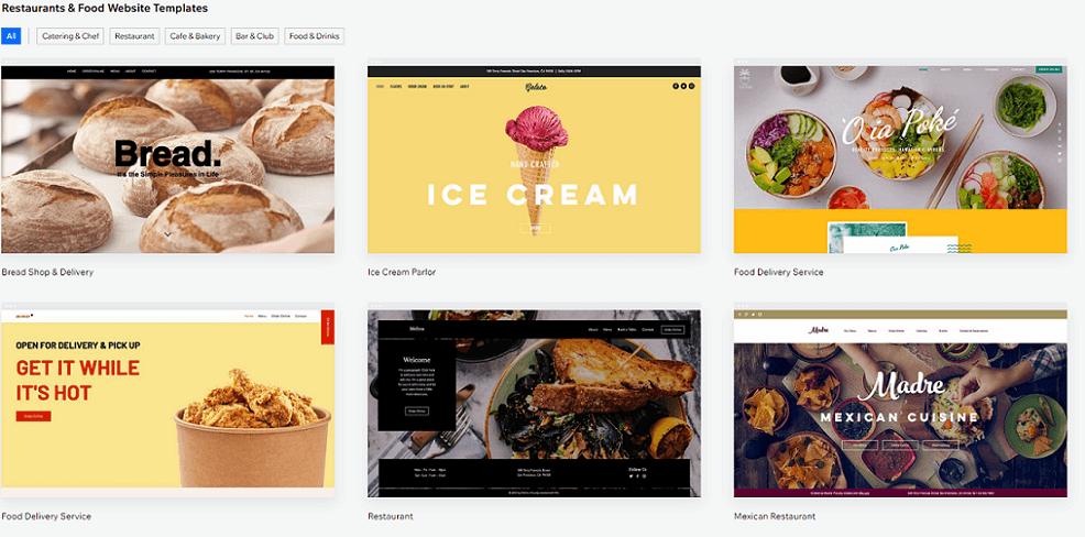 wix restaurant website templates