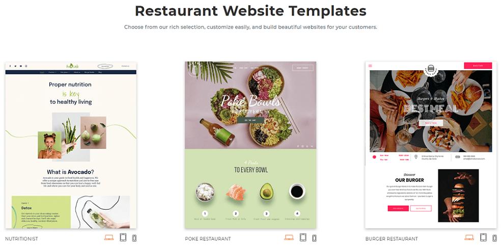 duda restaurant website templates