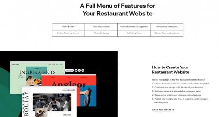 wix restaurant website features