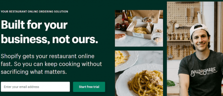 shopify restaurant website builder homepage