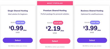 hostinger's shared hosting prices start at $0.99 per month
