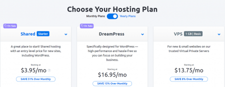 dreamhost's shared hosting price plans start at $3.95 per month
