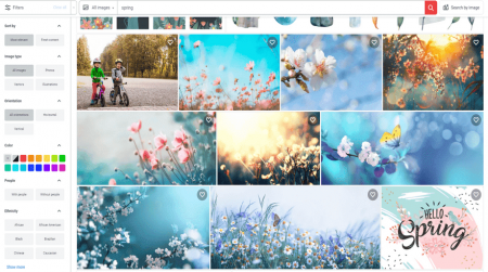 shutterstock spring photos for websites search