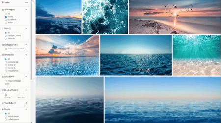 adobe stock sea images search filters