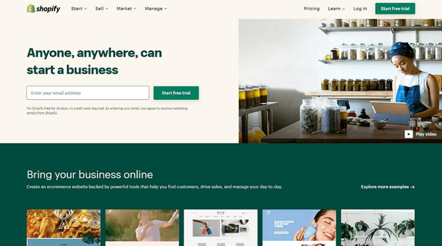 shopify ecommerce website builder homepage