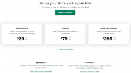 shopify ecommerce pricing plans start at $29 per month