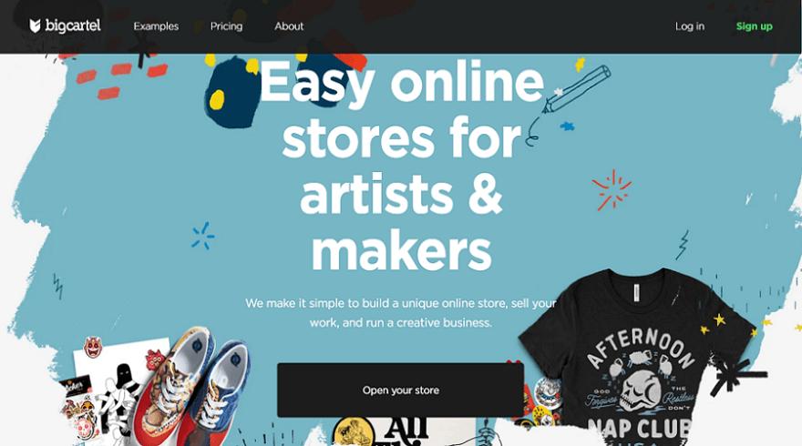 big cartel ecommerce website builder homepage