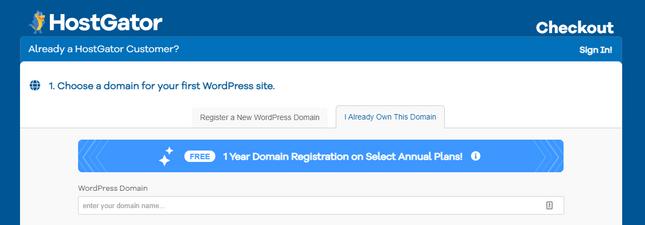 hostgator setup domain name already registered