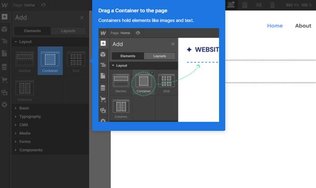 using webflow editor