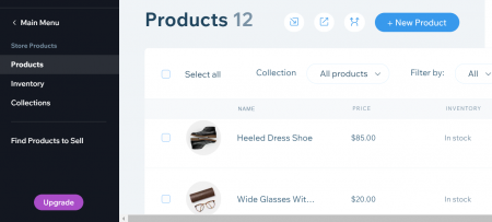 managing products with wix