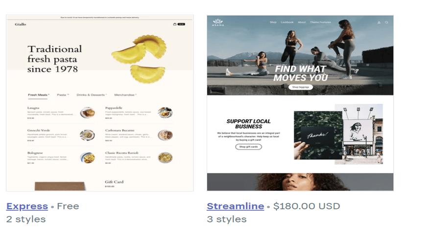 shopify theme prices