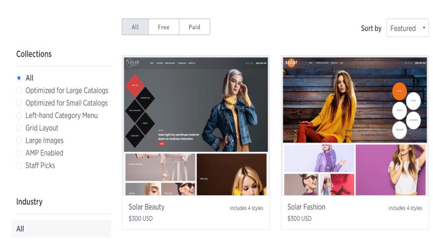 bigcommerce paid theme options