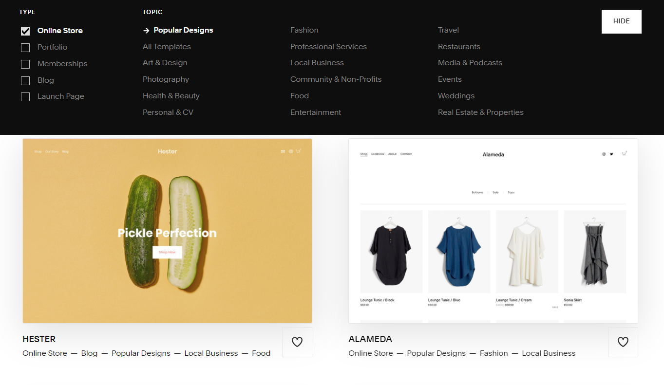 squarespace ecommerce template designs