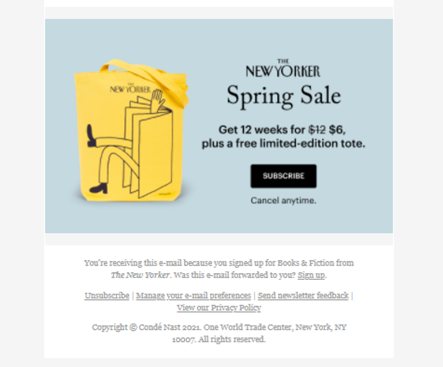 The New Yorker Email Example