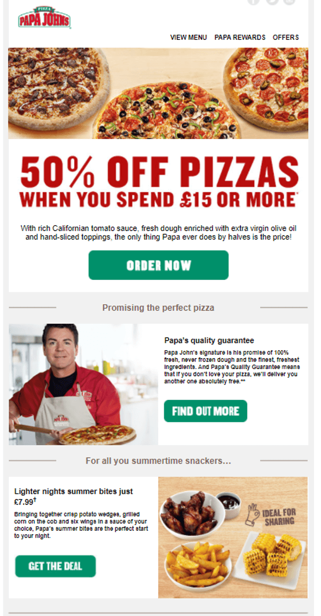 Papa John's Email Example