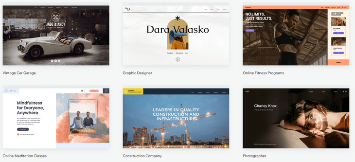 wix review template selection