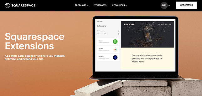 using the squarespace extensions store